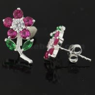 925 Sterling Silver Jeweled Flower with Leaf Ear Stud