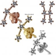 925 Sterling Silver Star Jeweled Dipper Fashion Ear Stud
