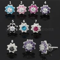 10 mm Jeweled Flower 925 Sterling Silver Ear Stud Earring