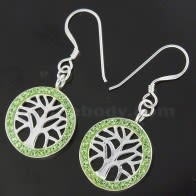 Multi jeweled Tree of Life 925 Sterling Silver Hook Earring