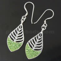 Multi jeweled Leaf 925 Sterling Silver Hook Earring