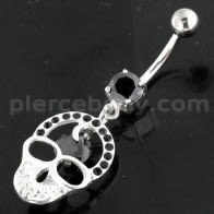 Jeweled Skull with center Stone Navel Belly Piercing