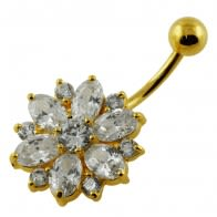 14G 10mm Yellow Gold Plated Sterlin Silver Clear Jewel Fantasy Flower Belly Bar