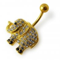 14G 10mm Yellow Gold Plated Silver Clear Jeweled Elephant Non-Moving Belly Bar