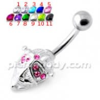 Jeweled Face Mask Non Dangling Navel Bar