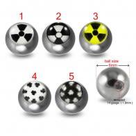 316L Surgical Steel 14G Threaded Diamond Design Logo balls