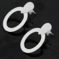 Tear Drop Diamond Dot on Oval Cut Ear Stud Ear Ring