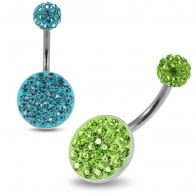 Multi Crystals jeweled Surgical Steel Belly Ring with Crystal Ferido Ball Top