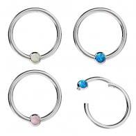 Hinged Segment Ring With Bezel-Set Opal Stone