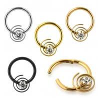 CZ Jeweled Swirl Segment Clicker Ring
