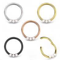 Triple Pearl Jeweled Segment Clicker Ring