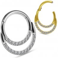 Crescent Moon Crystal Hoop Ear Lip Nose Ring Hinged Segment Clicker Ring