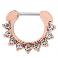 Rose Gold PVD Single Line 9 CZ's Pronged Septum Clicker Piercing