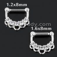 5 CZ Jeweled Floral Septum Clicker Piercing