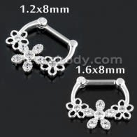 Jeweled Floral Flower Septum Clicker Piercing