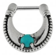 Plain Dotted with Turquoise Stone Jeweled Septum Clicker Piercing