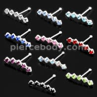925 Sterling Silver Dazzling Five Stone Geniune Cubic Zirconia Nose Bone Stud