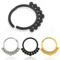 Tribal Paved Balls Hinged Segment Clicker Ring