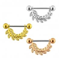 Micro Jeweled Floral leaf Nipple Piercing Bar