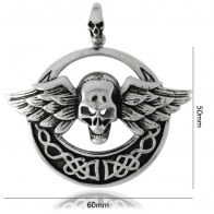 Stainless Steel Skeleton Wings Pendant