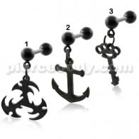 Black PVD Plated Dangling Tragus Piercings