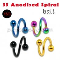 316L Surgical steel Anodised Spiral with Balls