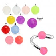 Twisted-Spiral Barbells with Pink Glow Balls