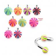 Eyebrow Spiral Ring With Beach UV Ball