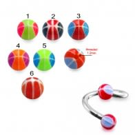Twisted Barbell With UV Fancy Mix Color Acrylic Balls