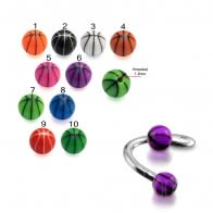 Twisted Barbell With UV Fancy Single Strips Basketball Print Loose Balls