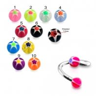SS Eyebrow Twisted Barbell with Star balls