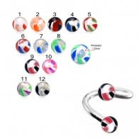 SS Eyebrow Twisted Barbell with UV Marble Balls