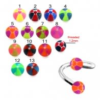 SS Eyebrow Twisted Barbell with UV Colorful Hand Painted Balls