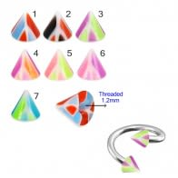 Twisted Barbell with UV Fancy Colorful Mvlti Layer Triangles Cone