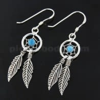 925 Sterling Silver turquoise bead Dream Catcher earring