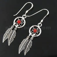 925 Sterling Silver Red Onyx Dream Catcher earring