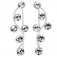 925 Sterling Silver Floral Fancy Jeweled CZ Stone Ear Pin Stud