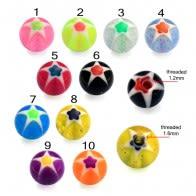 UV Fancy Hand Print Multi Star Eyebrow Lip Tongue Balls