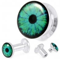 316L Surgical Steel Blue Eye Screw Fit Flesh Tunnel