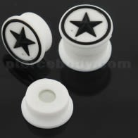 Embossed White Star in Black Silicone Magnetic Ear Plug