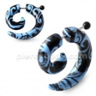 Black and Turquoise Pattern Invisible Fake Ear plug