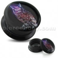 Glowing owl UV Internal Screw Fit Ear Tunnel