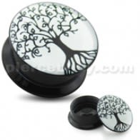 Tree of Life UV Internal Screw Fit Ear Tunnel
