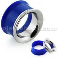 Dark Blue UV Acrylic with Steel Internal Thread Flesh Tunnel