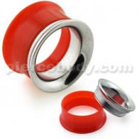 Red UV Acrylic with Steel Internal Thread Flesh Tunnel
