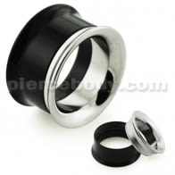 Black UV Acrylic with Steel Internal Thread Flesh Tunnel
