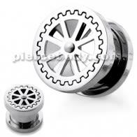 Wheel Design Handy Mirror Polished Flesh Tunnels