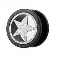 PVD Black Plated with Steel Matt Star Motive Flesh Tunnels