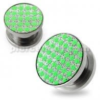 Green Dots on White Glitter Ear tunnel gauges