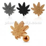 PVD Plated Glittering marijuana Tragus Piercing